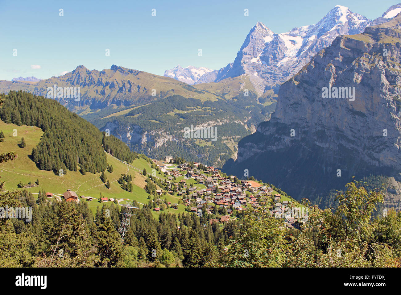 Breathtaking, traffic-free village of Murren in the Bernese Oberland, Switzerland with the Eiger, Monch and Jungfrau mountains in the background Stock Photo