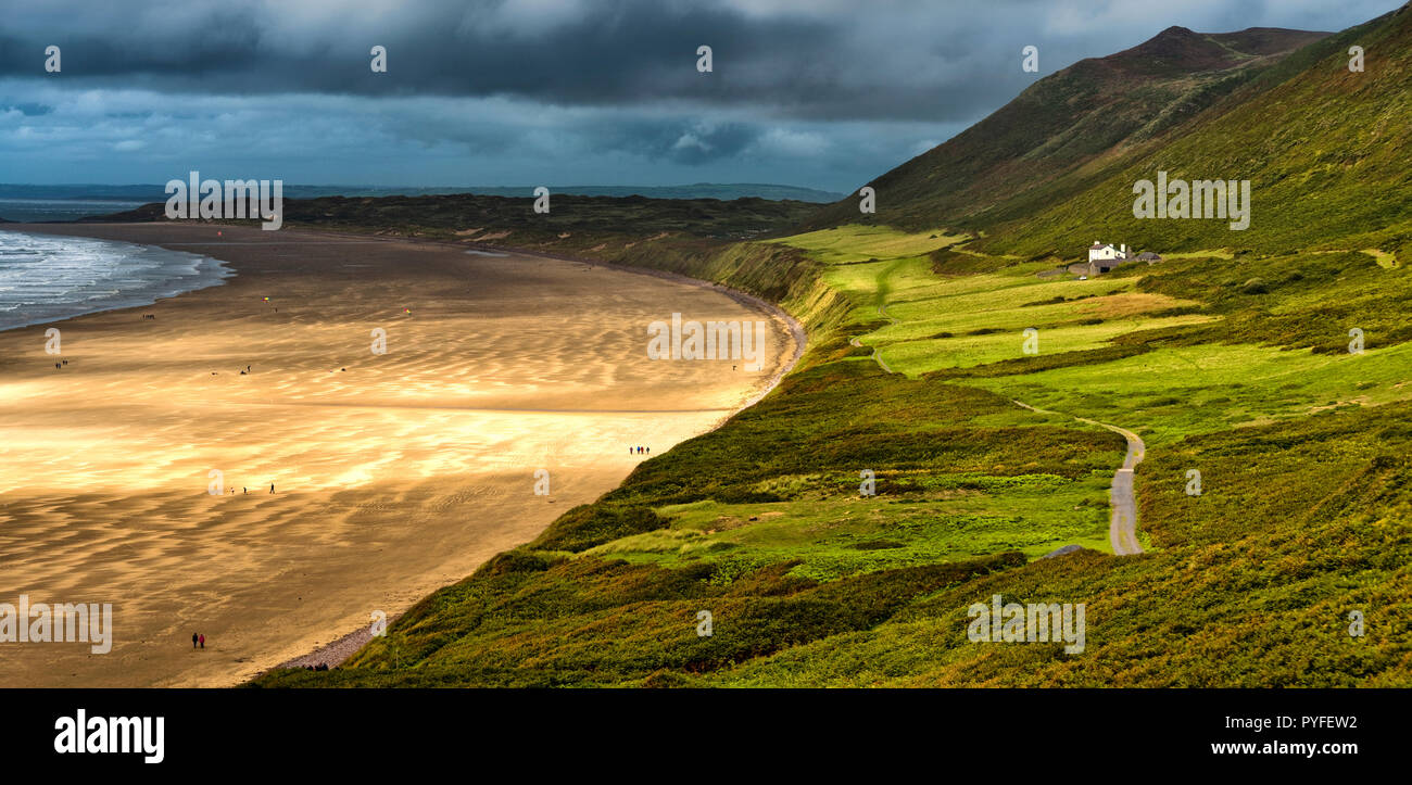 Rhossili Bay, the Gower Peninsula, South Wales - Stock Image