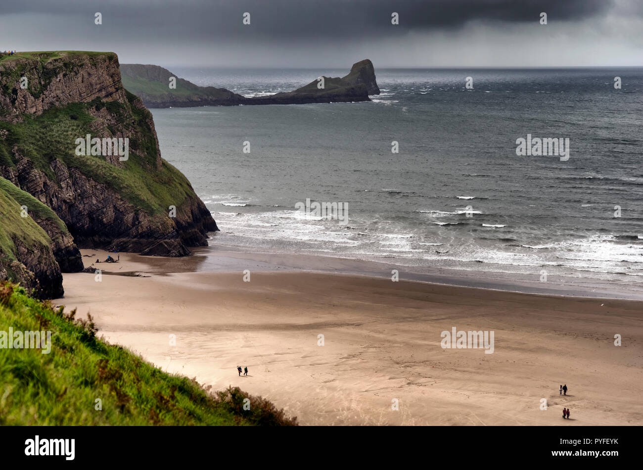 Worms Head, Rhossili Bay, the Gower Peninsula, South Wales (1) - Stock Image