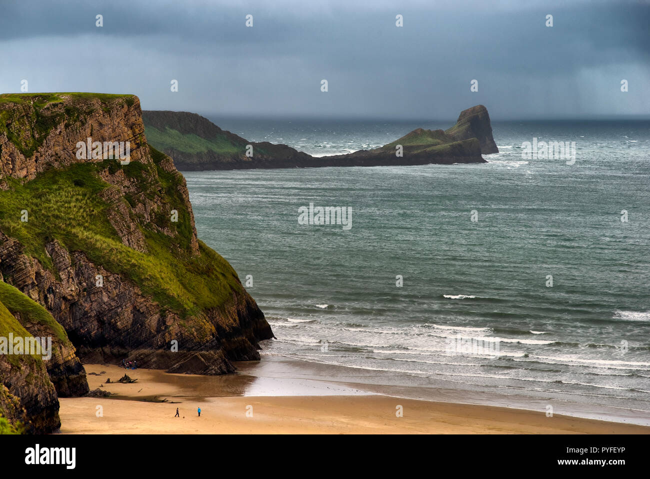 Worms Head, Rhossili Bay, the Gower Peninsula, South Wales (2) - Stock Image