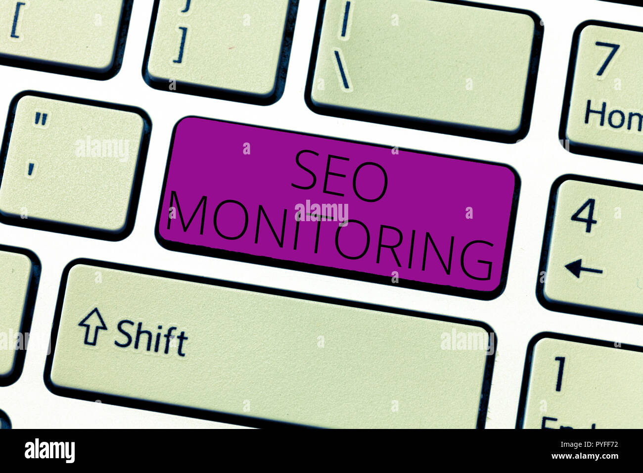 Text sign showing Seo Monitoring. Conceptual photo Tracking the progress of strategy made in the platform. Stock Photo