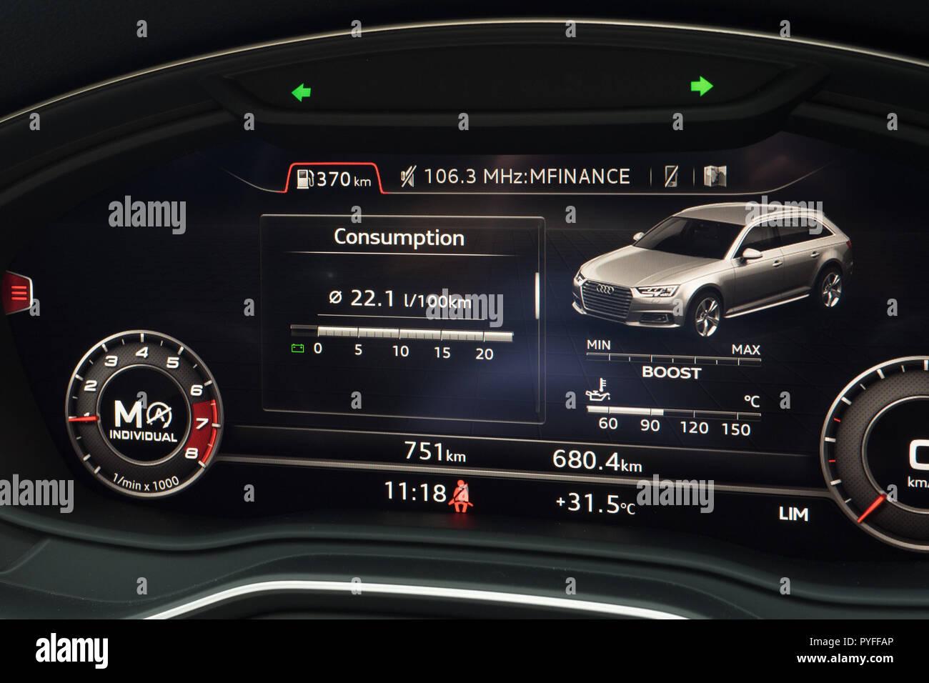 Hong Kong China May 14 2018 Audi Rs4 2018 Dashboard May 14 2018