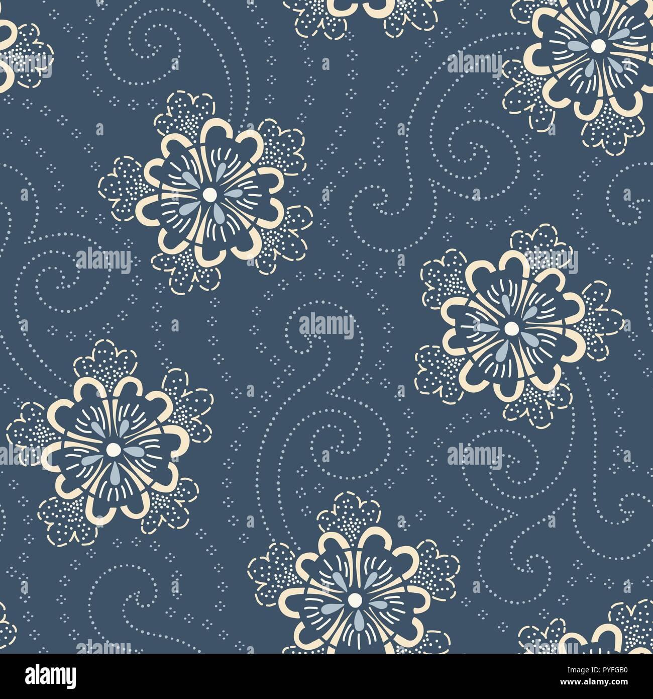 Indigo Hand Drawn Japanese Floral Vector Seamless Pattern