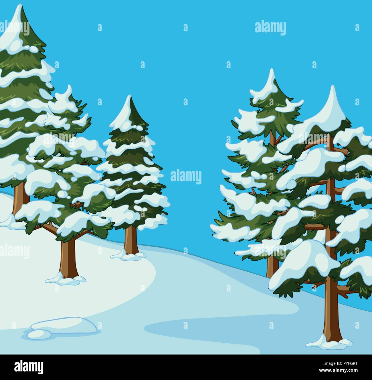 pine trees covered with snow illustration stock vector image & art - alamy  alamy