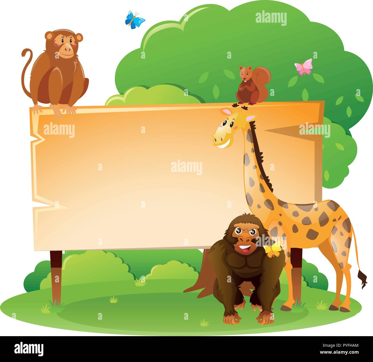 wooden sign template with wild animals illustration stock vector art