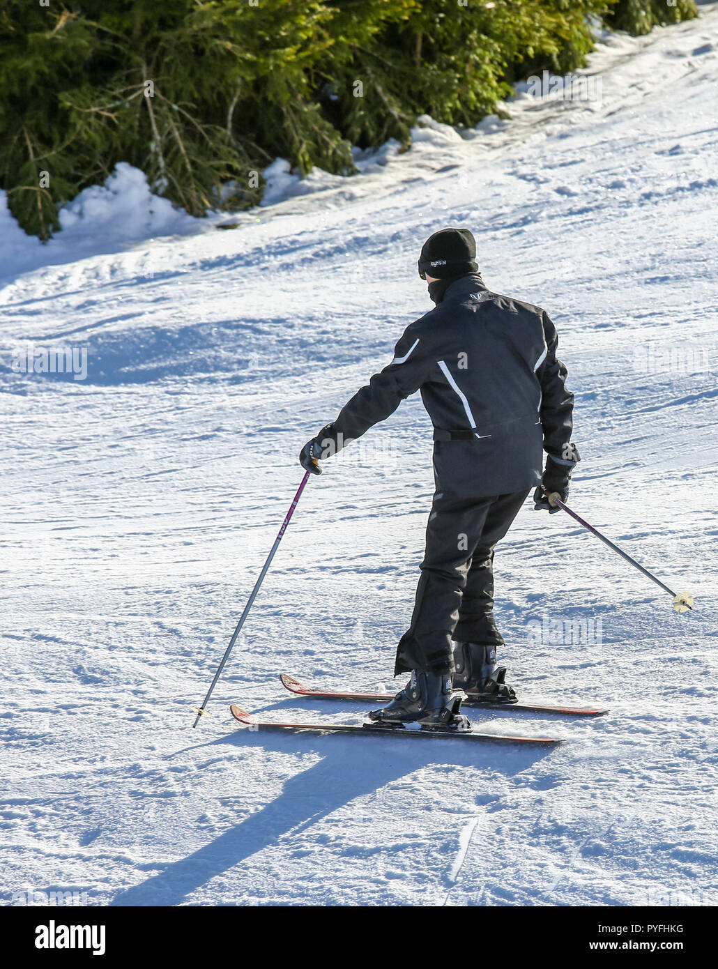 GERARDMER, FRANCE - FEB 17- Closeup on beginner skier during the annual winter school holiday on Feb 17, 2015 in Gerardmer, France - Stock Image