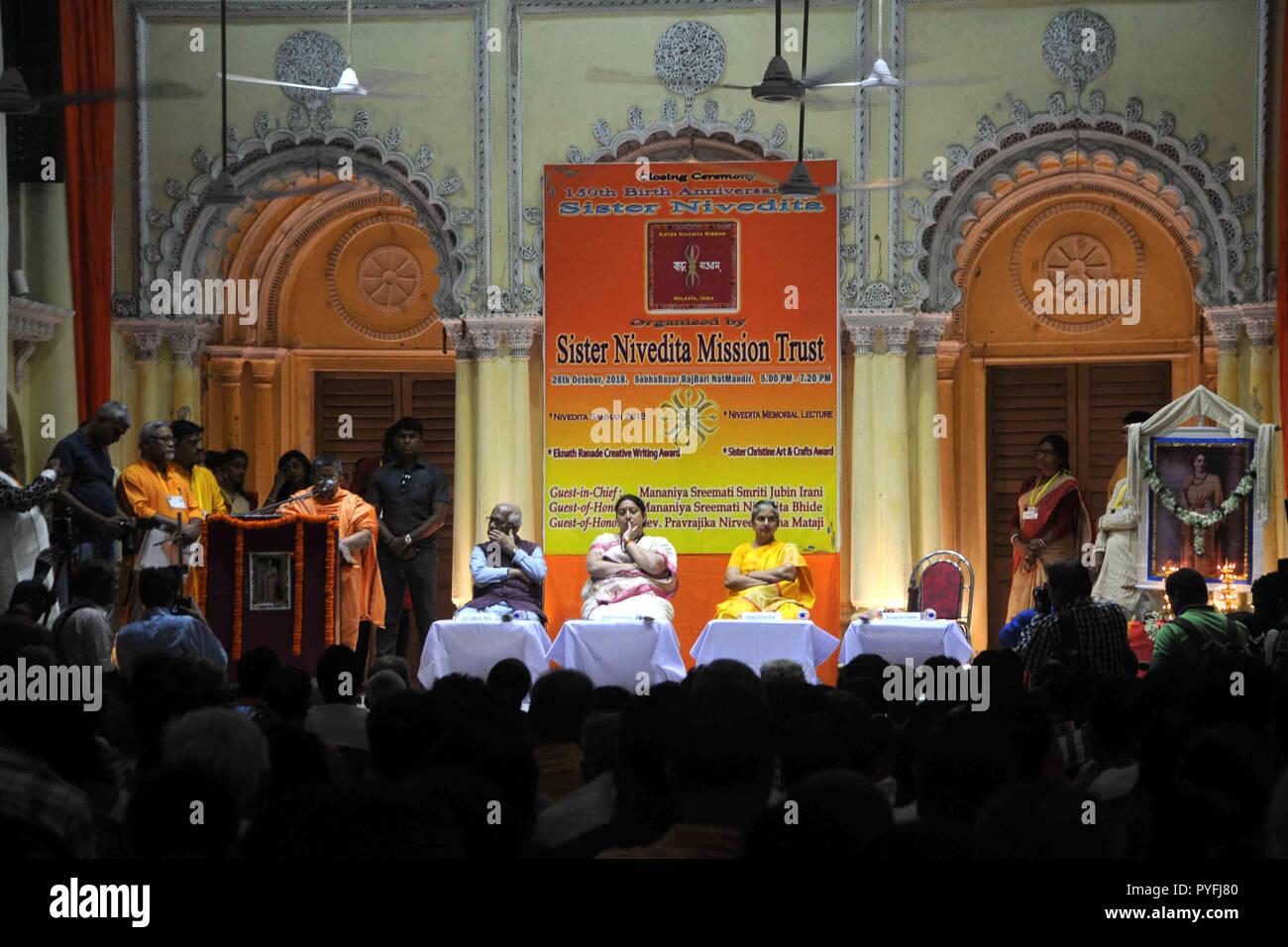 Kolkata, India. 26th Oct, 2018. Union Textile Minister Smriti Irani (middle) takes part in the inauguration of Sister Nivedita Memorial Lecture at Sovabazaar Rajbari. Credit: Saikat Paul/Pacific Press/Alamy Live News - Stock Image