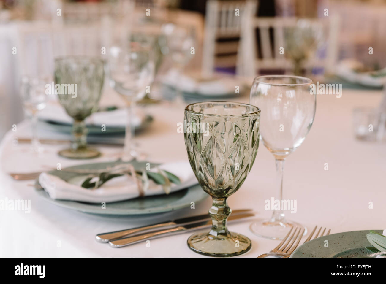 Lunch table for guests at a wedding. - Stock Image