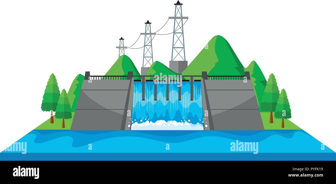 Scene with dam and electric towers in 3D design illustration - Stock Vector