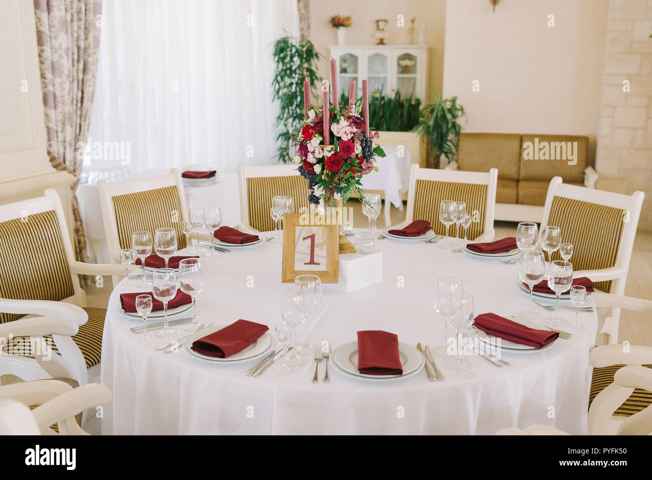 Lunch table for guests at a wedding - Stock Image