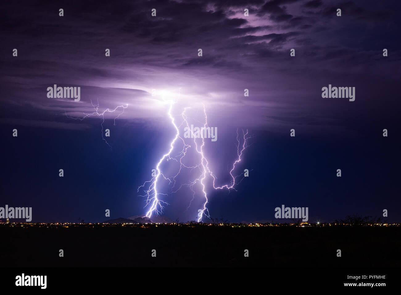 Lightning bolt storm over Casa Grande, Arizona. Stock Photo