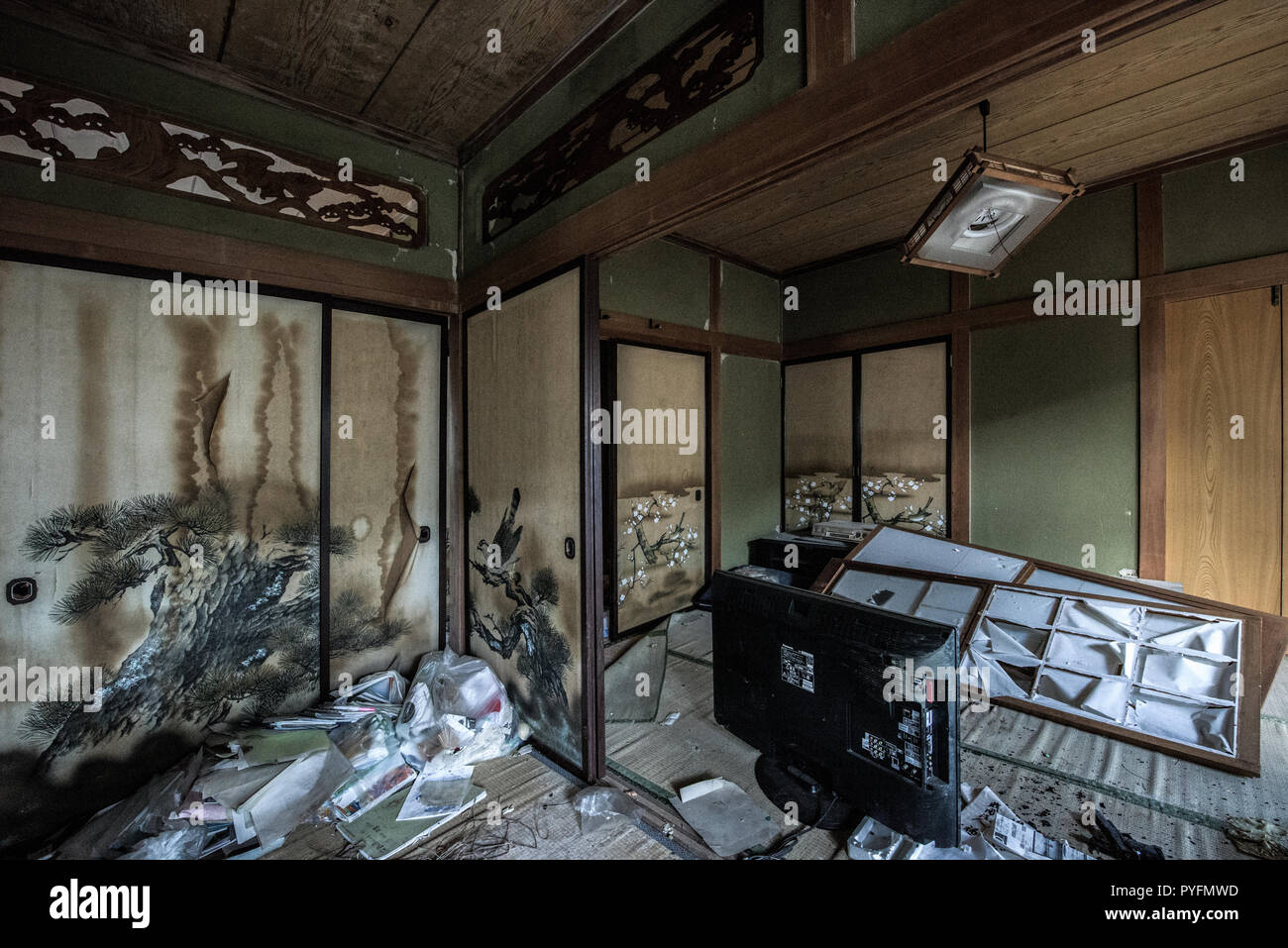 Abandoned town of Futaba, near Fukushima power plant - Stock Image