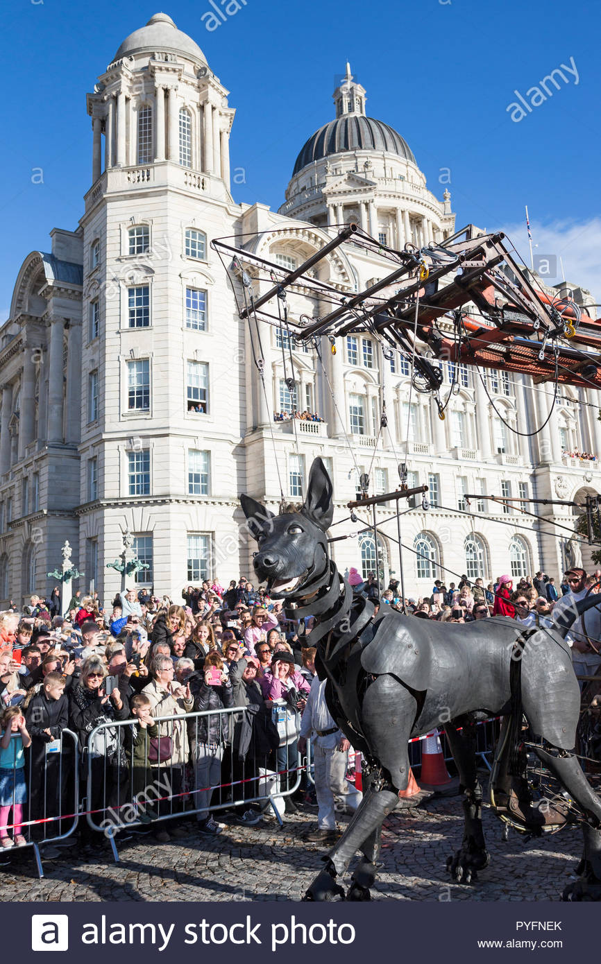 Xolo the dog walking past Port of Liverpool Building, giant puppet by Royal de Luxe, Liverpool's Dream, Giant Spectacular, Liverpool, UK, 2018 Stock Photo