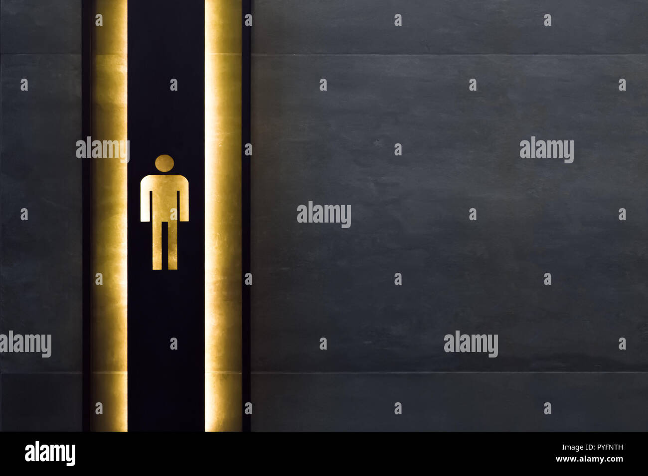 Male restroom sign. Restroom signs in public place. Important signs and symbols concept. Simple sign of WC. Restroom concept. Restroom sign on a toilet door. - Stock Image