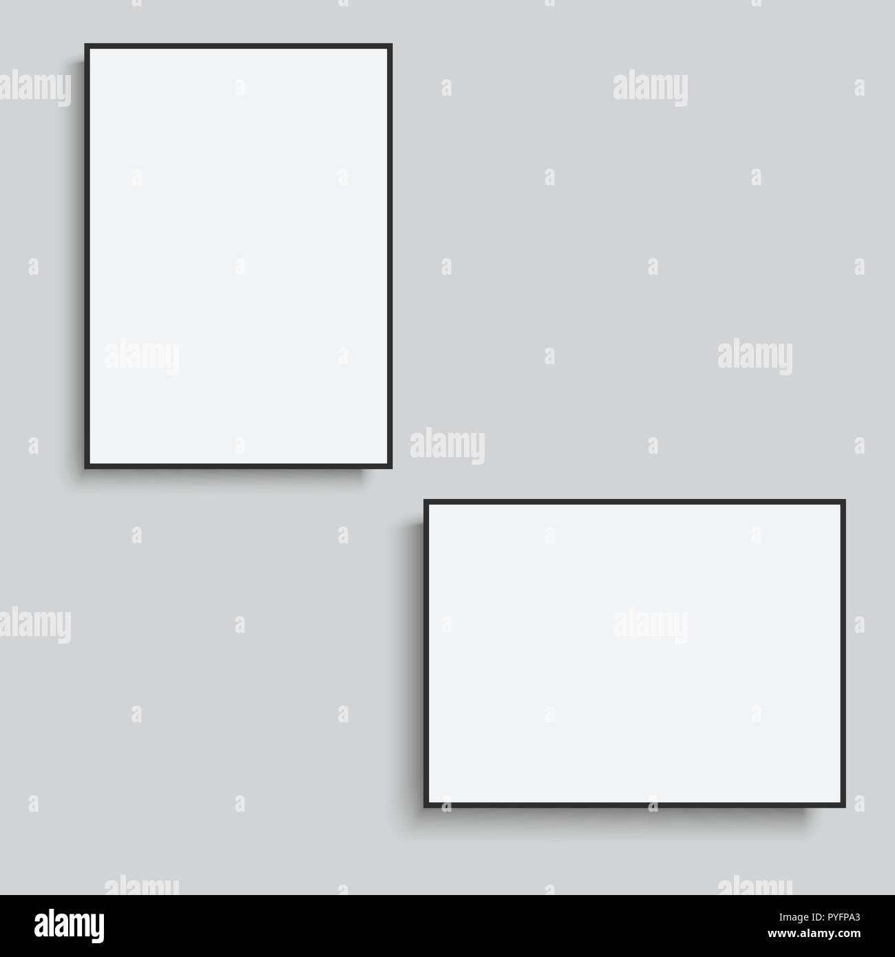 White Horizontal And Vertical Frames Vector Stock Vector Art