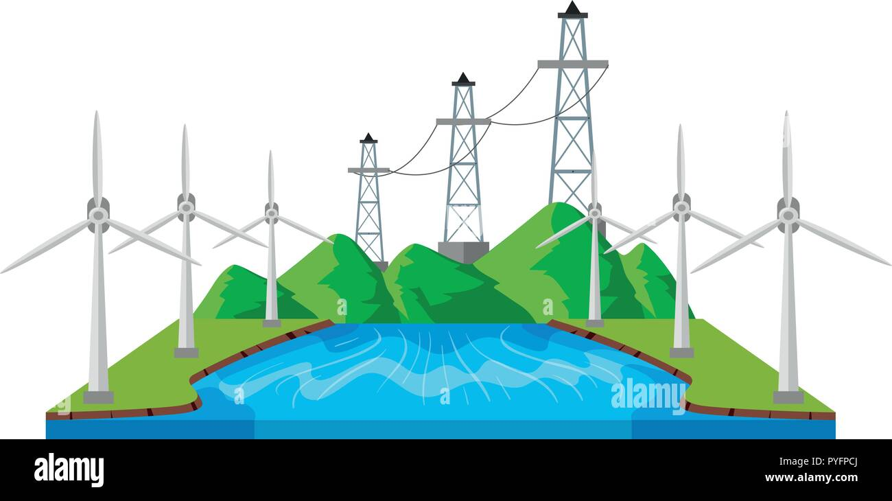 Windmills and power lines by the river illustration - Stock Vector