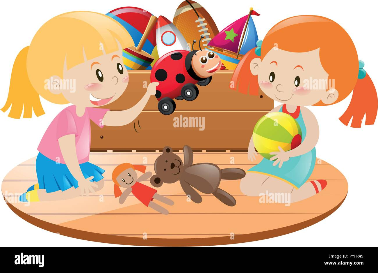 Two Girls Playing With Toys In Room Illustration Stock Vector Art