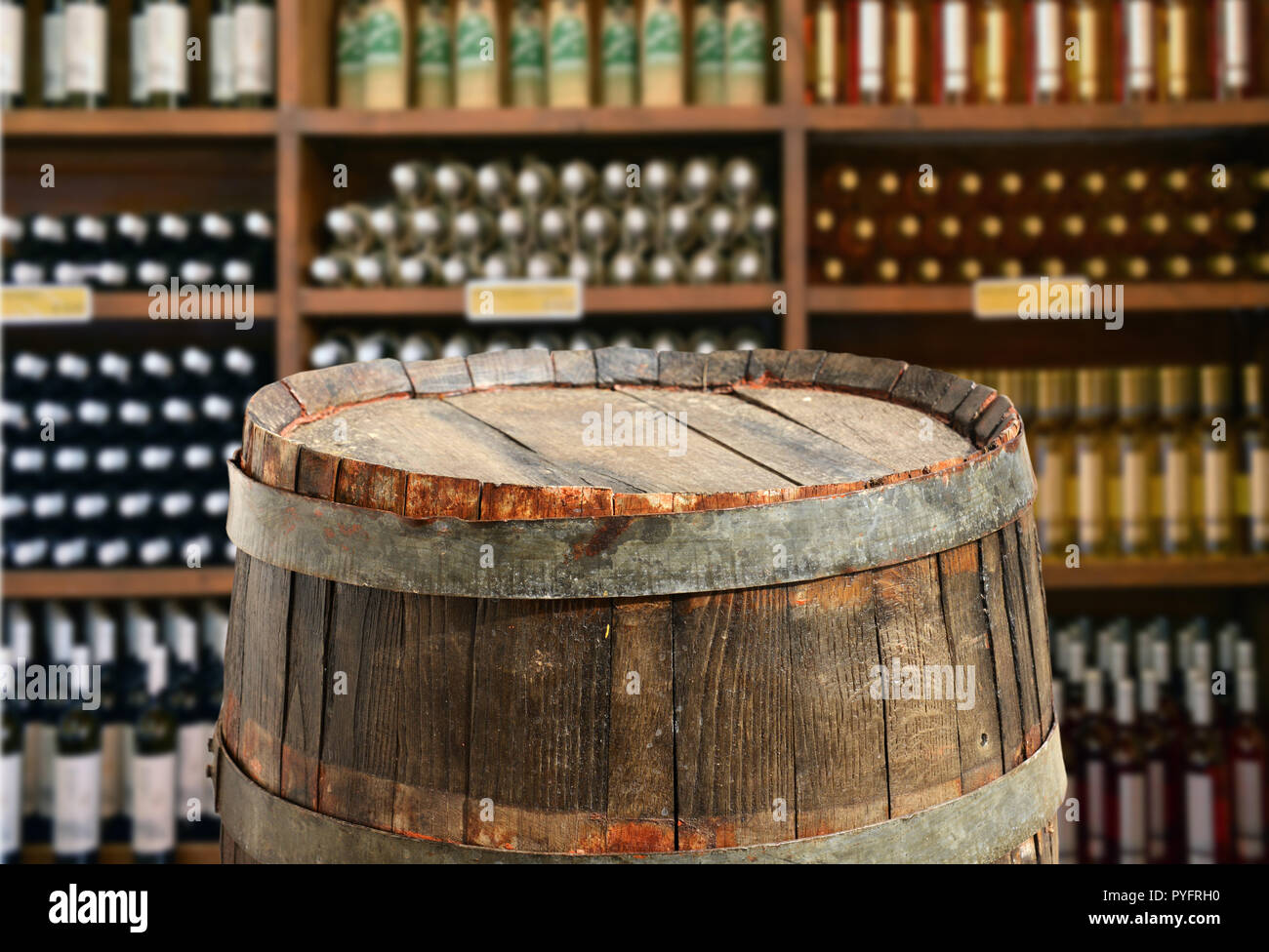 empty barrel for product display monateges - Stock Image
