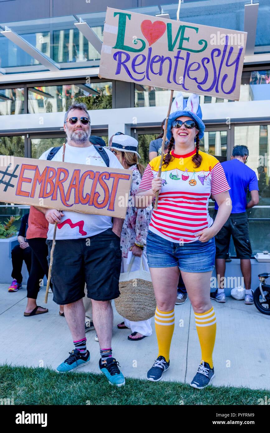 Anti-Racism Rally, City Hall, Vancouver, British Columbia, Canada. Stock Photo