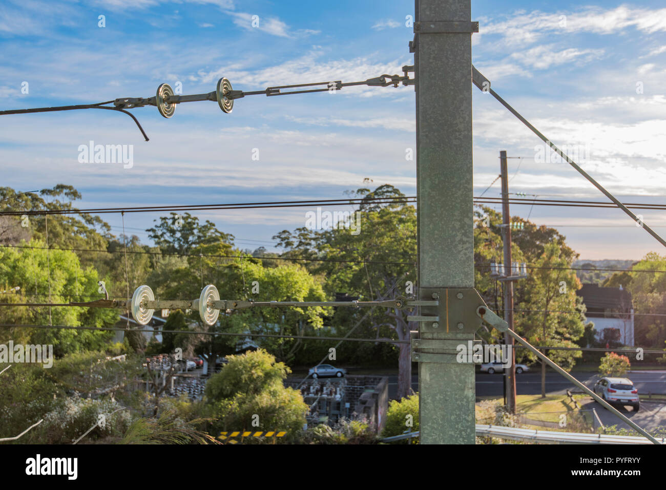 New steel poles and overhead wiring on the Sydney Trains ... on