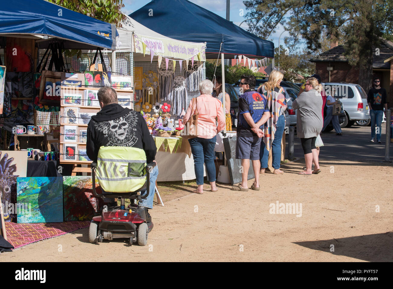 People browsing and shopping at the weekend market at Richmond in Sydney Australia's western suburbs - Stock Image