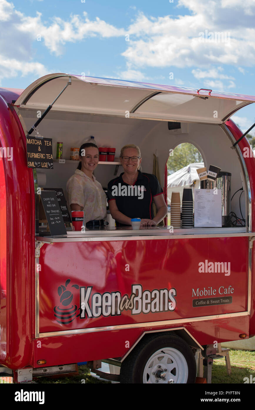 The Keen as Beans take away coffee van at a weekend market in the north western Sydney suburb of Richmond, New South Wales, Australia - Stock Image