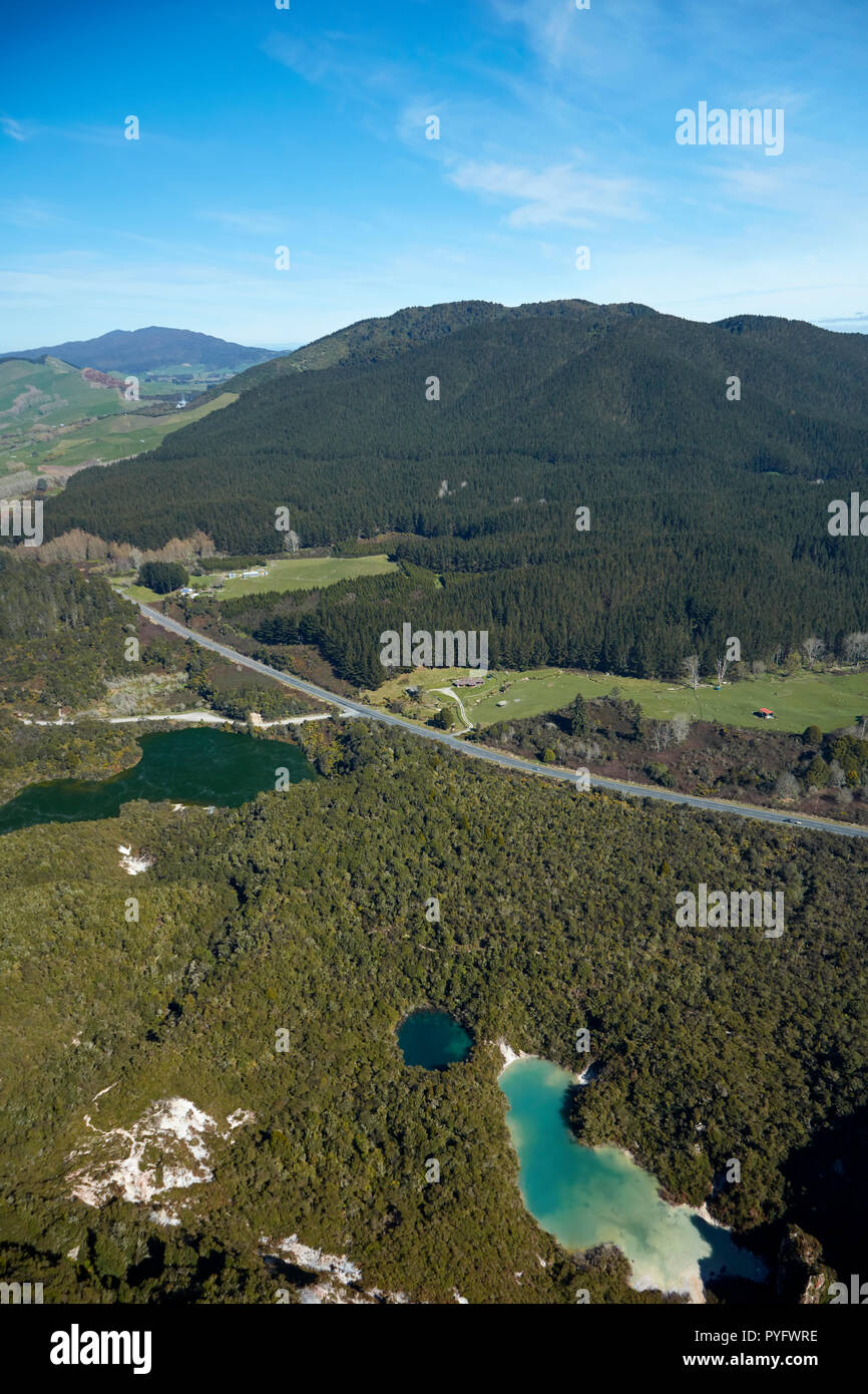 Crater Lakes, Rainbow Mountain, and Rotowhero / Green Lake (in distance), near Rotorua, North Island, New Zealand - aerial - Stock Image