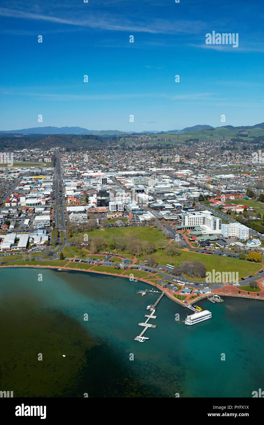Lakeland Queen paddle steamer, Rotorua Lakefront Reserve, and city centre, Rotorua, North Island, New Zealand - aerial - Stock Image