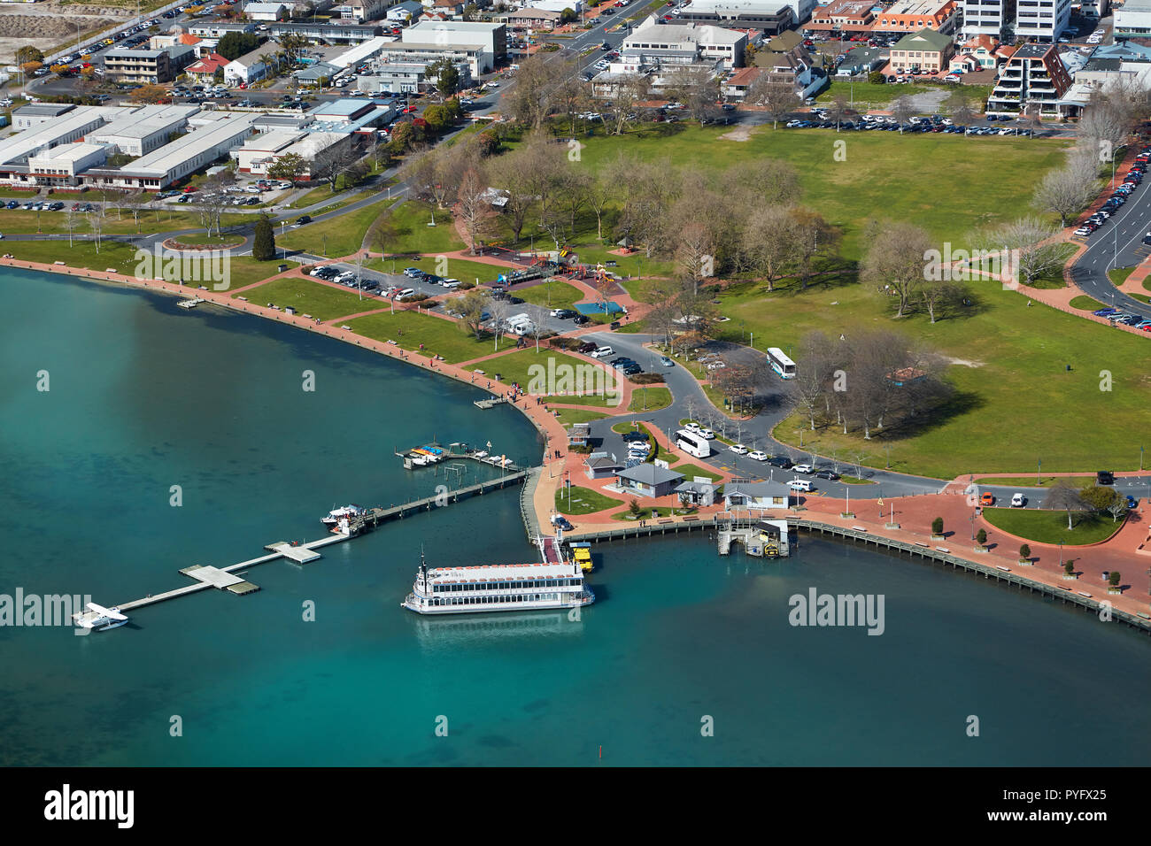 Lakeland Queen paddle steamer, and Rotorua Lakefront Reserve, Rotorua, North Island, New Zealand - aerial - Stock Image