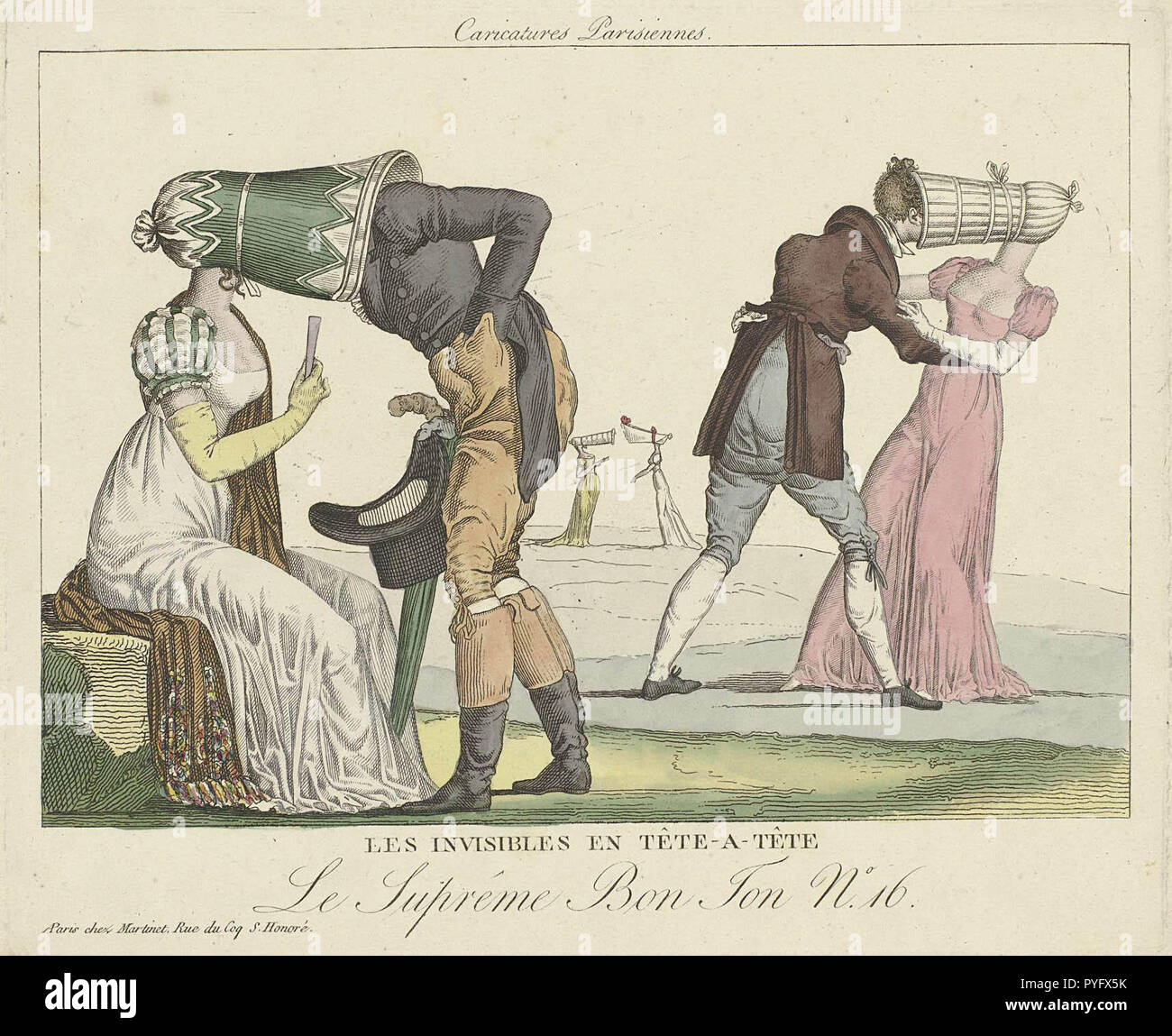 Late 1810s French cartoon lampooning the poke bonnet - Stock Image