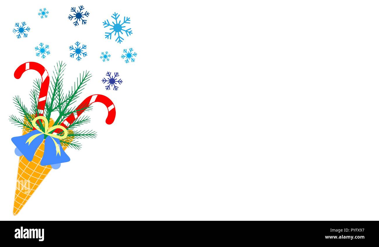 Vector illustration with ice cream cone, candy canes, snowflakes ...