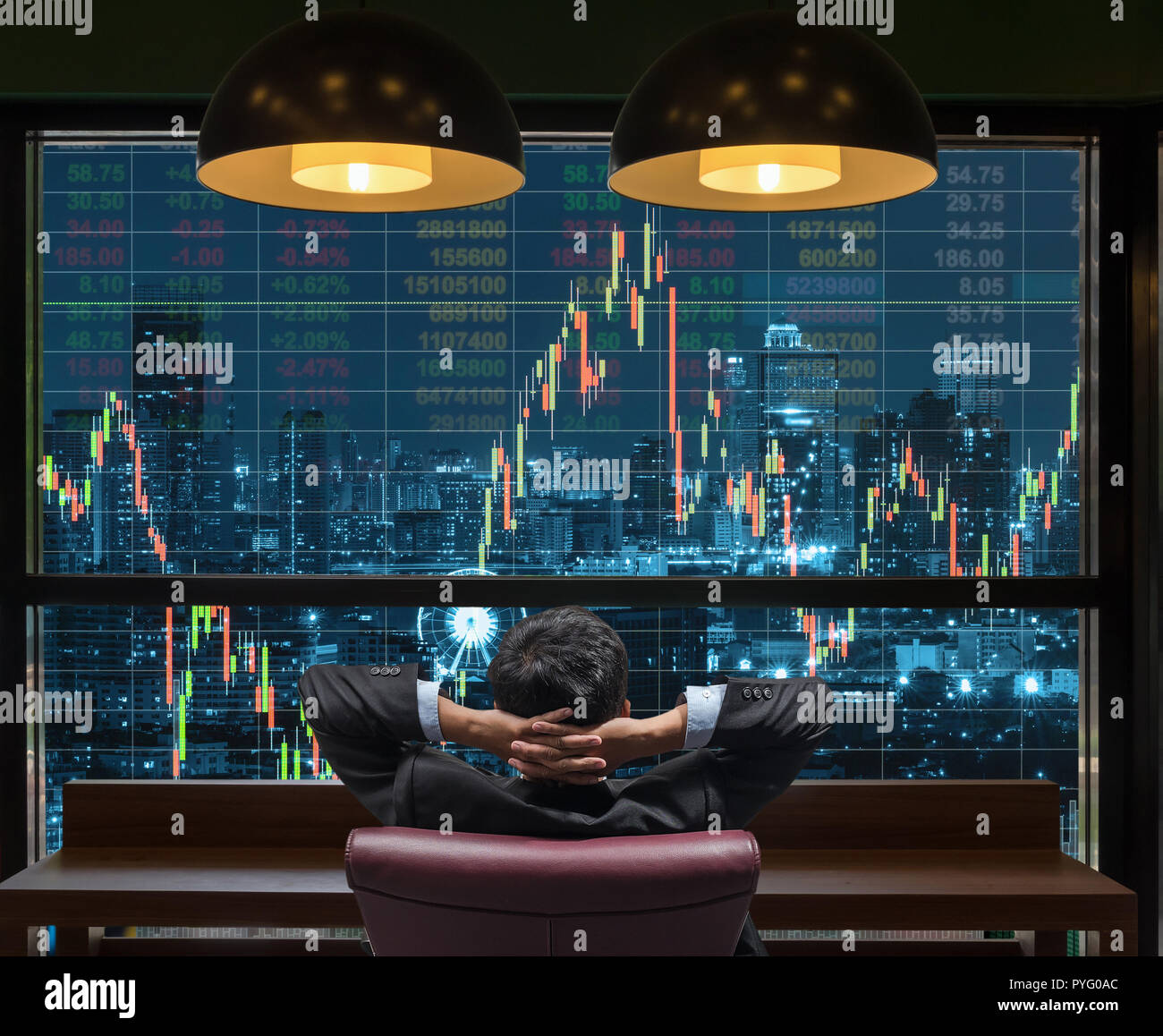 Back side of sitting businessman who is looking at stock market exchange graph over the cityscape on the big screen background, Business trading and f - Stock Image