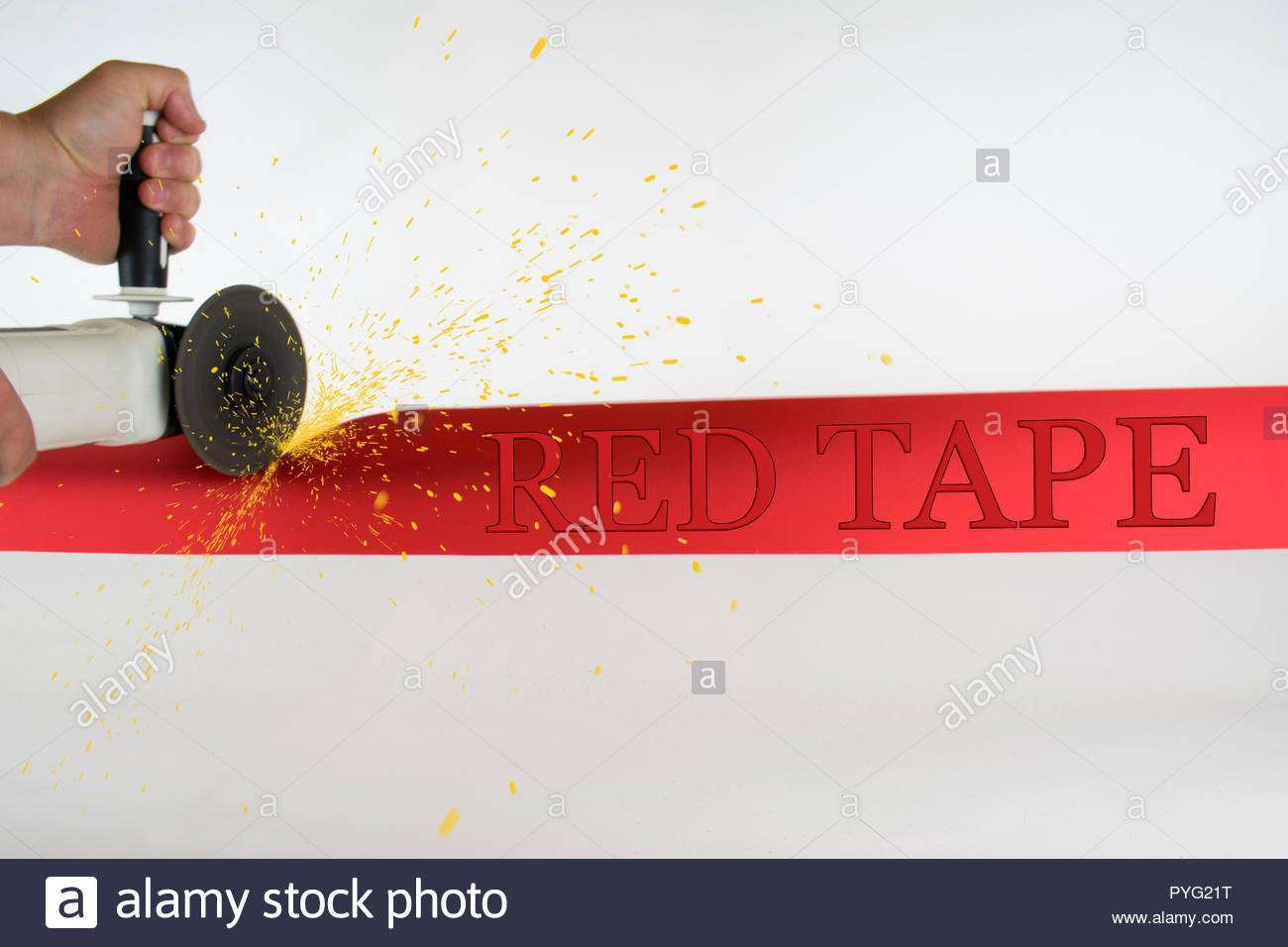 Red tape is an idiom that refers to excessive regulation or rigid conformity to formal rules that is considered redundant or bureaucratic and hinders  - Stock Image