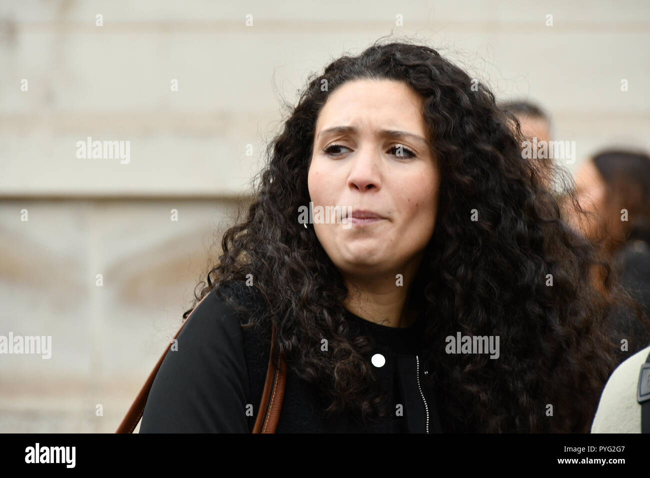 London, UK. 27th October 2018. Malia Bouattia join the United Families and Friends Campaign (UFFC) 20th Anniversary Procession march to Downing Street demand ask demand justice for their love one killed by polices on 27 October 2018, London, UK. Credit: Picture Capital/Alamy Live News - Stock Image