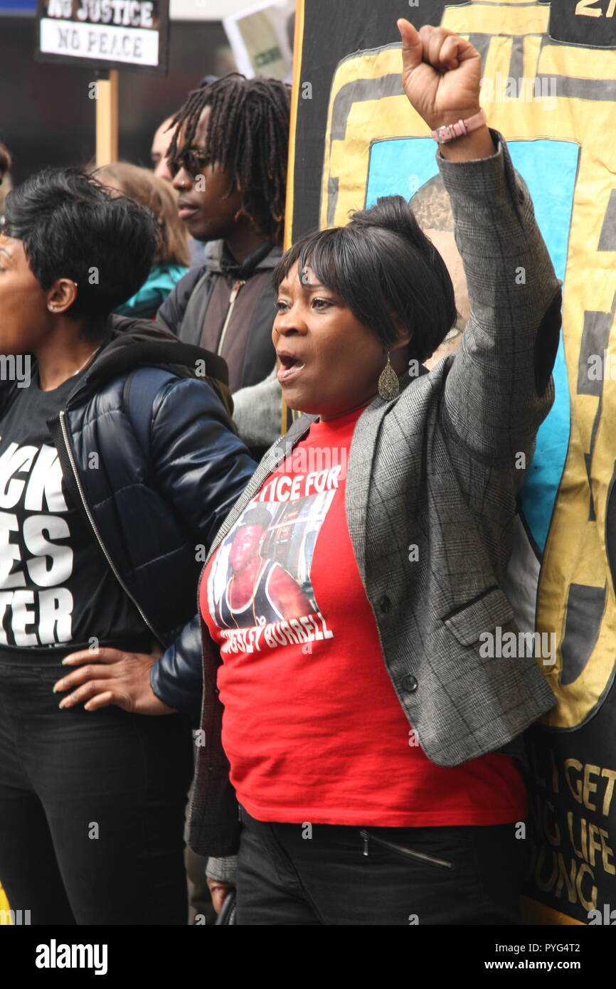 London, UK, 27th October, 2018. Janet Brown the mother of Kingsley Burrell who died after being retrained by the police in 2011. Friends, family and supporters campaigning for justice for people who died in custody, or while being arrested  take part In the 20th annual march organised by the United Families and Friends Campaign. The march  goes from Trafalger Square to Downing Street, where a petition is handed in. Roland Ravenhill/Alamy Live News. - Stock Image