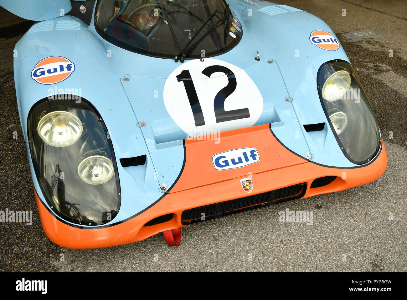 Imola, Italy. 26th October 2018. Imola Classic 26 October 2018: Porsche 917 1970 Gulf Livery ex Attwood/Elford in the paddock at Imola Circuit, Italy. Credit: dan74/Alamy Live News - Stock Image