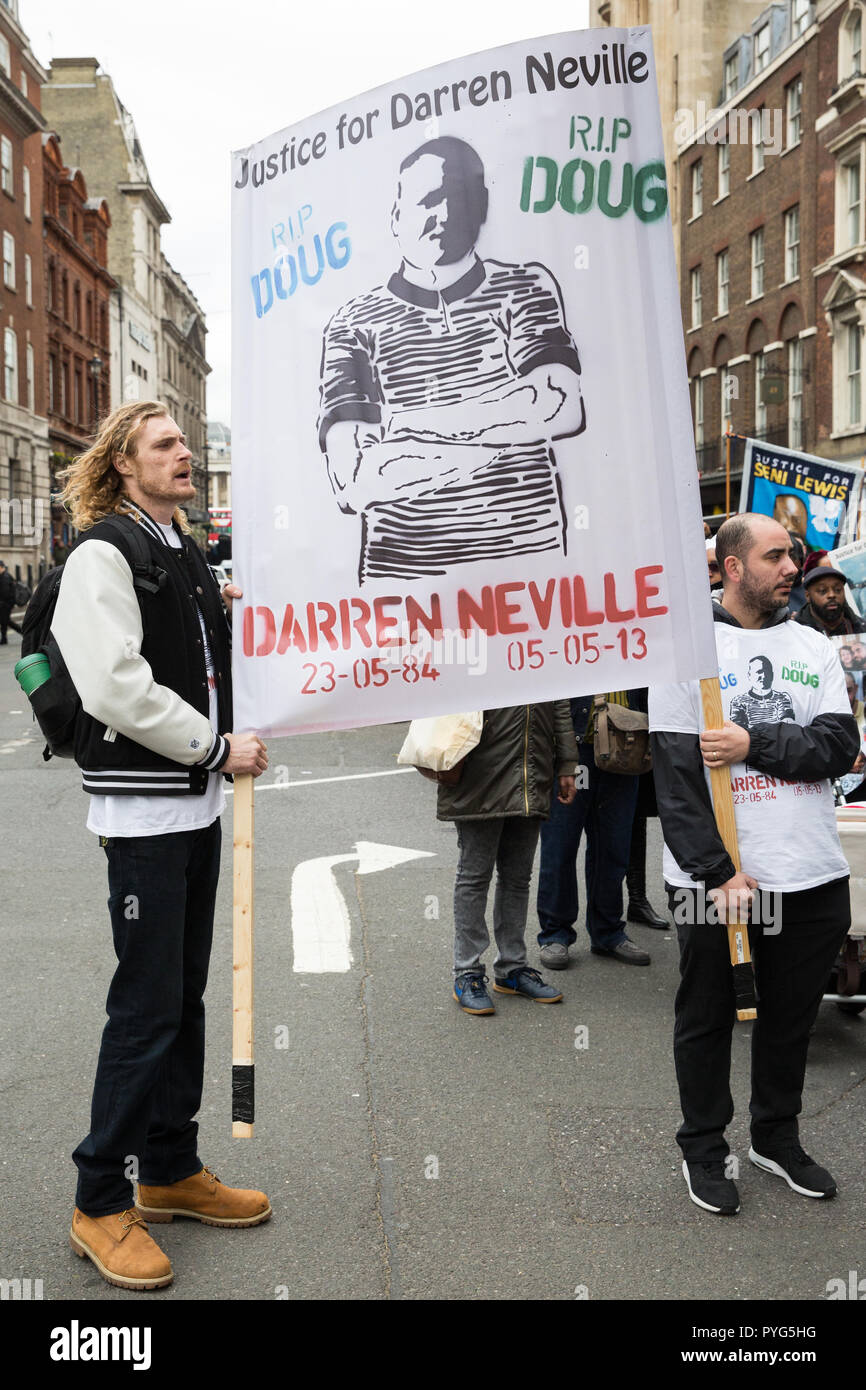 London, UK. 27th October, 2018. Supporters of the Justice for Darren Neville campaign join campaigners from the United Families and Friends Campaign (UFFC) taking part in the 20th annual procession to Downing Street in remembrance of family members and friends who died in police custody, prison, immigration detention or secure psychiatric hospitals. Credit: Mark Kerrison/Alamy Live News - Stock Image