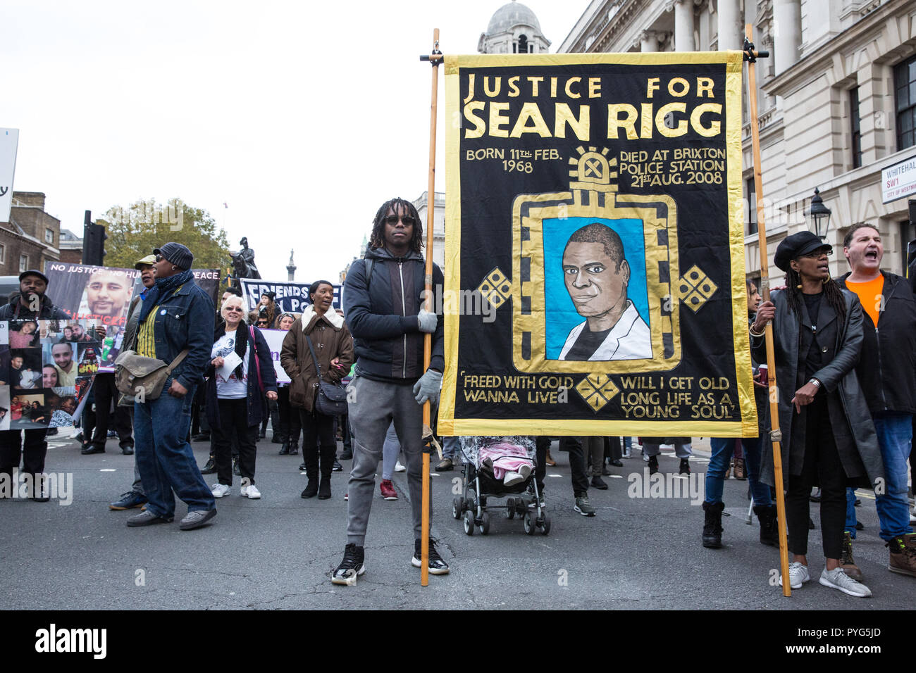London, UK. 27th October, 2018. Marcia Rigg, sister of Sean Rigg,Campaigners from the United Families and Friends Campaign (UFFC) take part in the 20th annual procession to Downing Street in remembrance of family members and friends who died in police custody, prison, immigration detention or secure psychiatric hospitals. Sean Rigg, 40, died on 21st August 2008 while in police custody at Brixton police station. Credit: Mark Kerrison/Alamy Live News - Stock Image