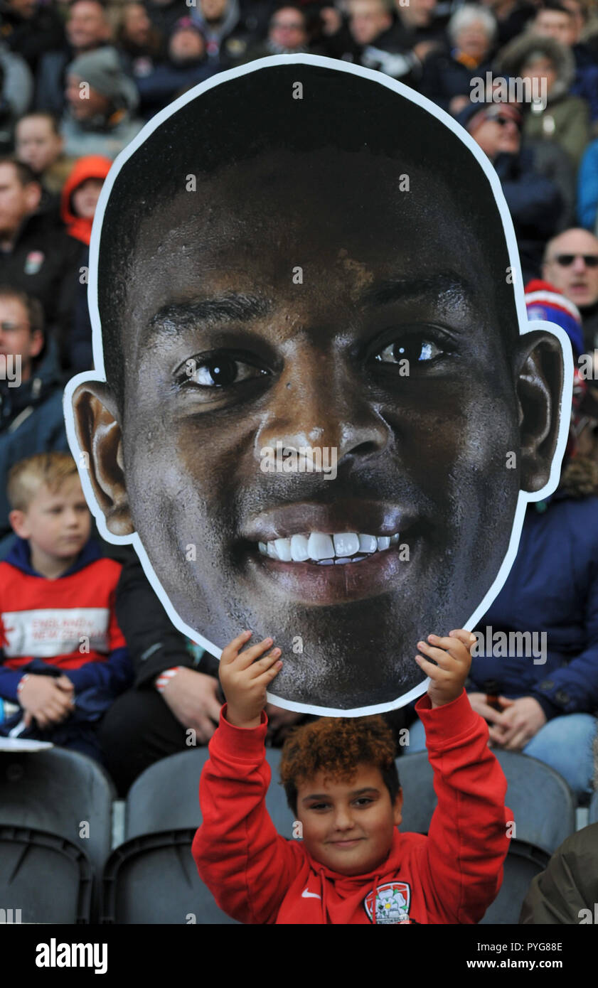 Hull, UK, 27 October 2018. KCOM Stadium, Hull, England; Rugby League Dacia International, England vs New Zealand; England fan holds up picture of Jermaine McGillvary.  Photo:Dean Williams Credit: Dean Williams/Alamy Live News - Stock Image