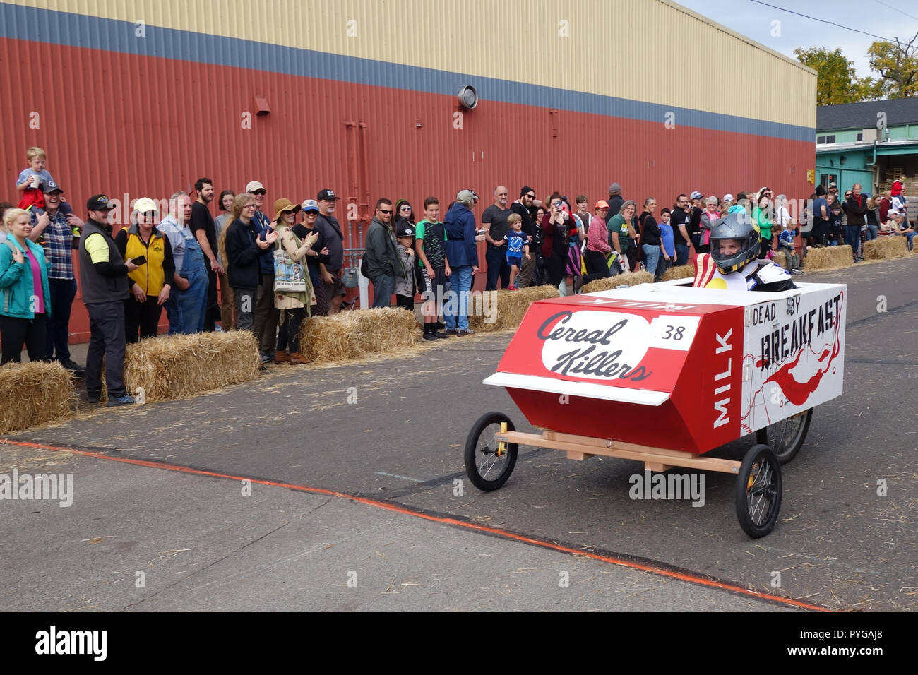 Eugene, Oregon, USA. 27th October, 2018. Racers compete in the Coffin Races, a Halloween-themed soapbox derby in Eugene, Oregon. Copyright: Gina Kelly/Alamy Live News - Stock Image