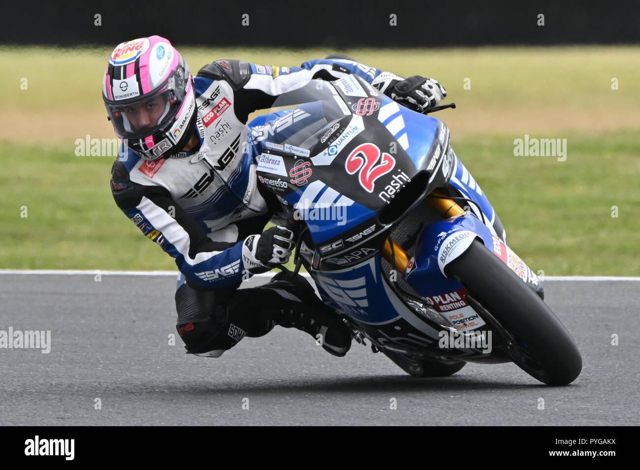 October 27, 2018: Jesko RAFFIN (SWI) riding the KALEX from the SAG Team during the Moto2 practice session three at the 2018 MotoGP of Australia at Phillip Island Grand Prix Circuit, Victoria, Australia. Sydney Low/Cal Sport Media Stock Photo