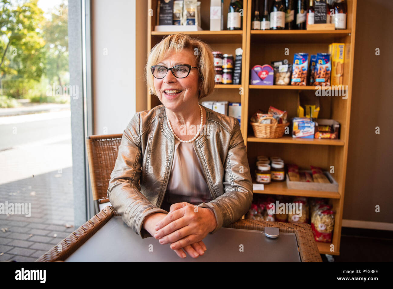 Gieselbach, Germany. 26th Sep, 2018. The Mayor of Geiselbach, Marianne Krohnen (CSU). The 67-year-old CSU politician has been in office since 1984 and is Germany's longest-serving mayor. Credit: Nicolas Armer/dpa/Alamy Live News - Stock Image