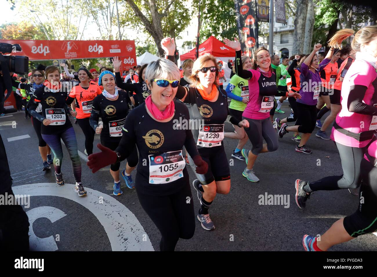 Runners compete during Madrid Women Half Marathon in the Spanish capital, 28 October 2018. This year's edition of the competition aims to support the women's sports and to fight against the Female genital mutilation. EFE/ Juanjo Martín - Stock Image