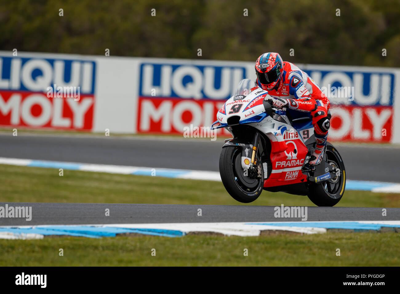 Melbourne, Australia. Sunday, 28 October, 2018. Phillip Island, Australia. Warm up. Danilo Petrucci, Alma Pramac Ducati MotoGP Team. Credit: Russell Hunter/Alamy Live News - Stock Image