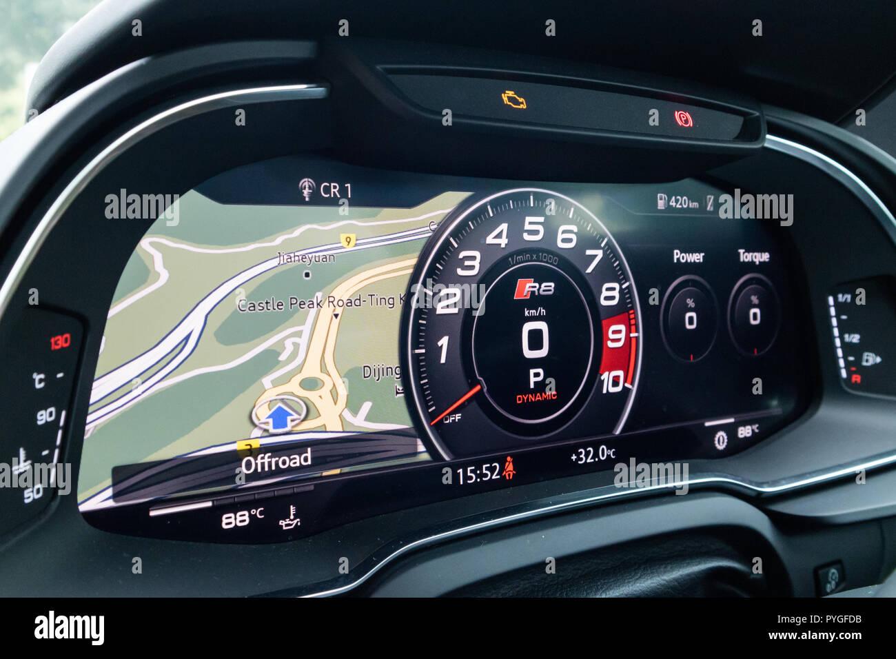 Hong Kong China July 3 2018 Audi R8 2018 Dashboard July 3 2018