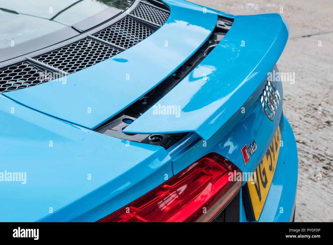 Hong Kong, China July 3, 2018 : Audi R8 2018 Rear Wing July 3 2018 in Hong Kong. - Stock Image