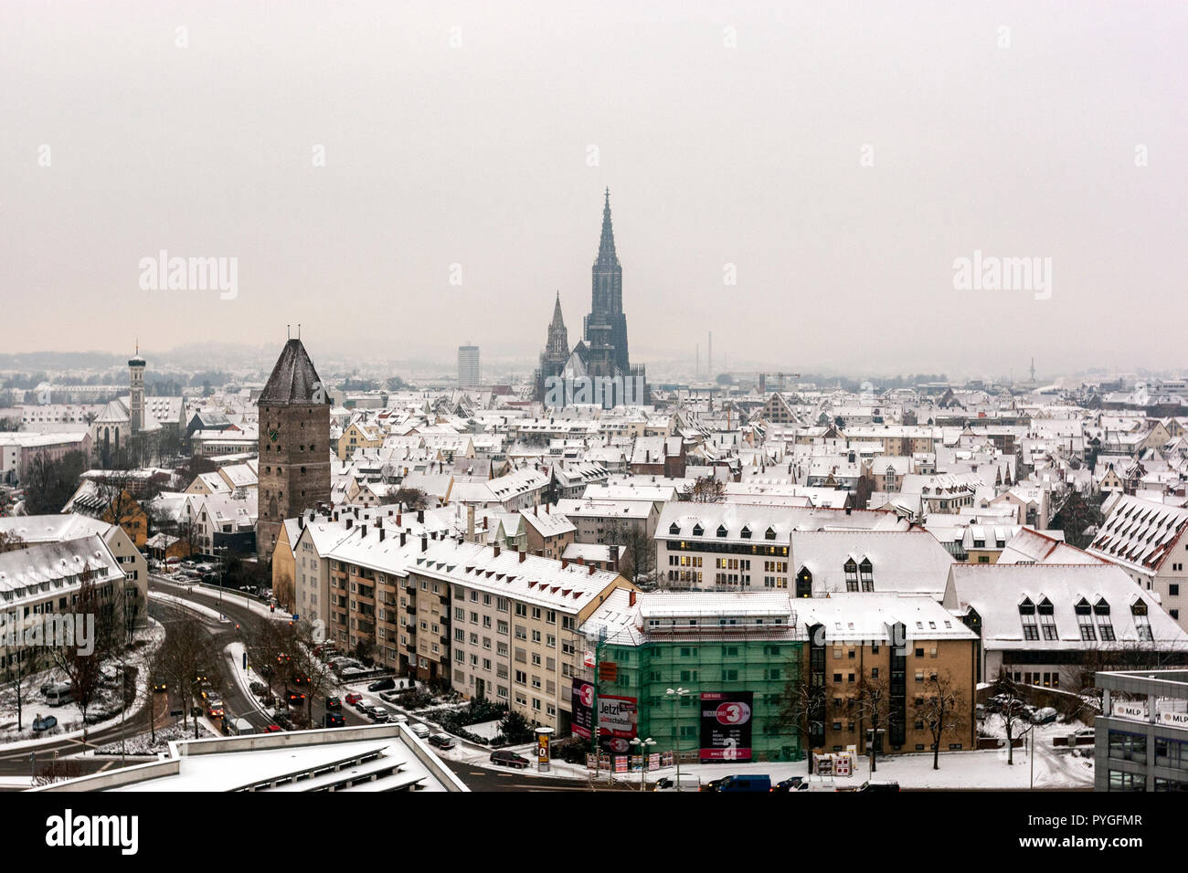 Snow winter view of Ulm from Maritim Hotel with the Ulm Minster,, Baden-Württemberg, Germany, Stock Photo