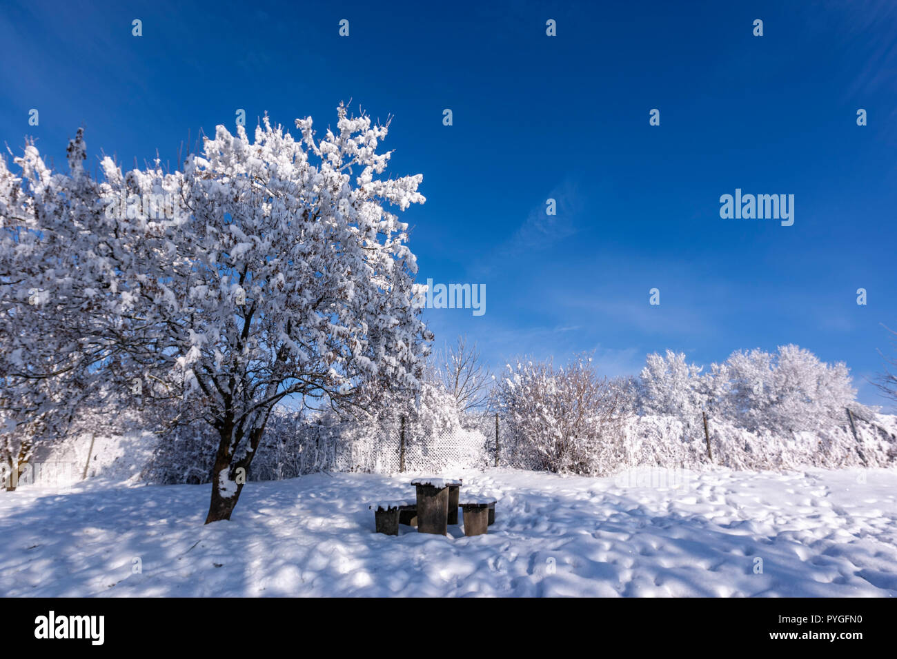 Winter with snow in a blue sky day in the A-8 Rest area rest pic nic area, Baden-Württemberg, Germany - Stock Image