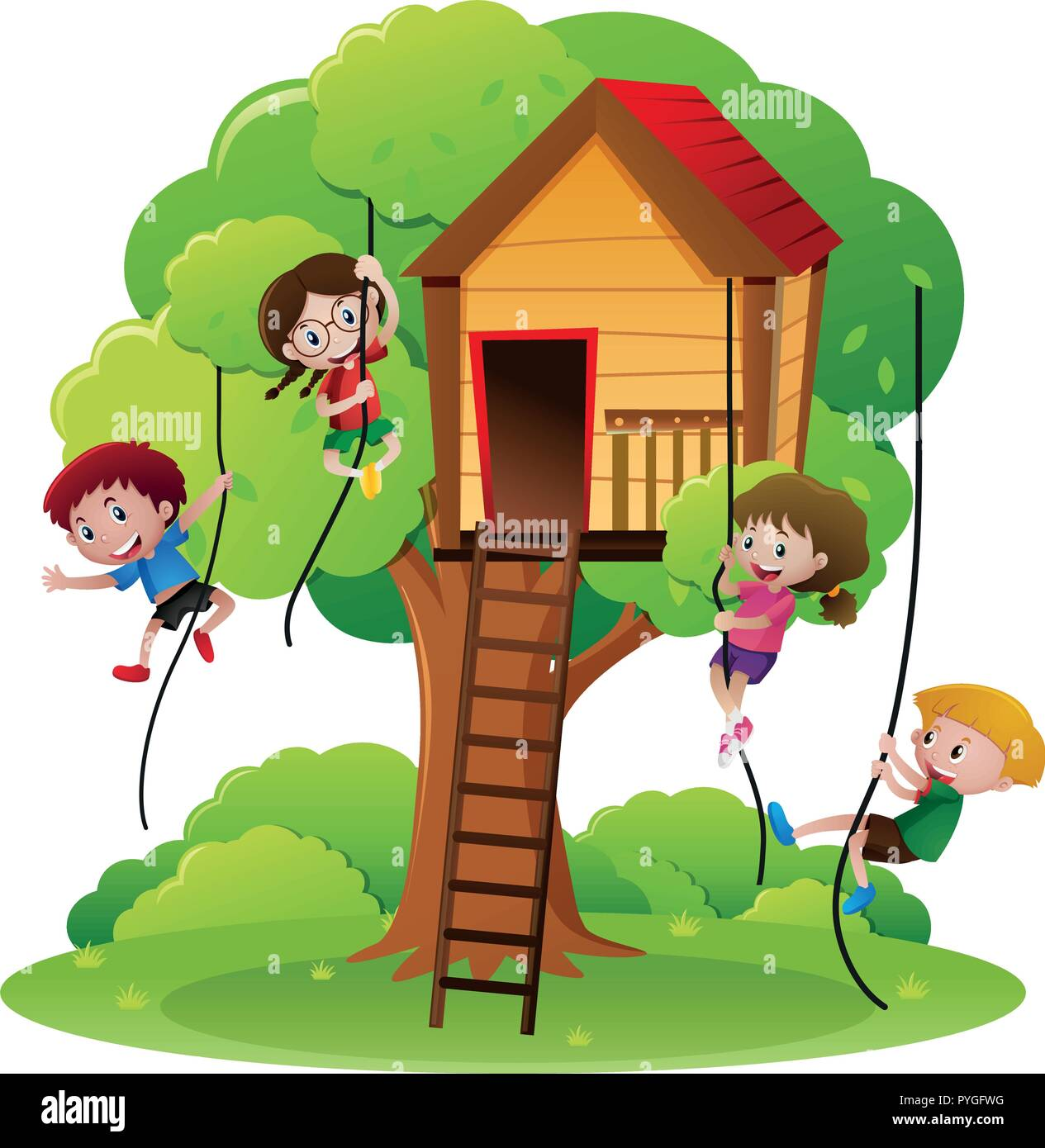 Children Climbing Up Tree Illustration High Resolution Stock Photography And Images Alamy I might sleep, might not. https www alamy com children climbing rope up to treehouse illustration image223483836 html