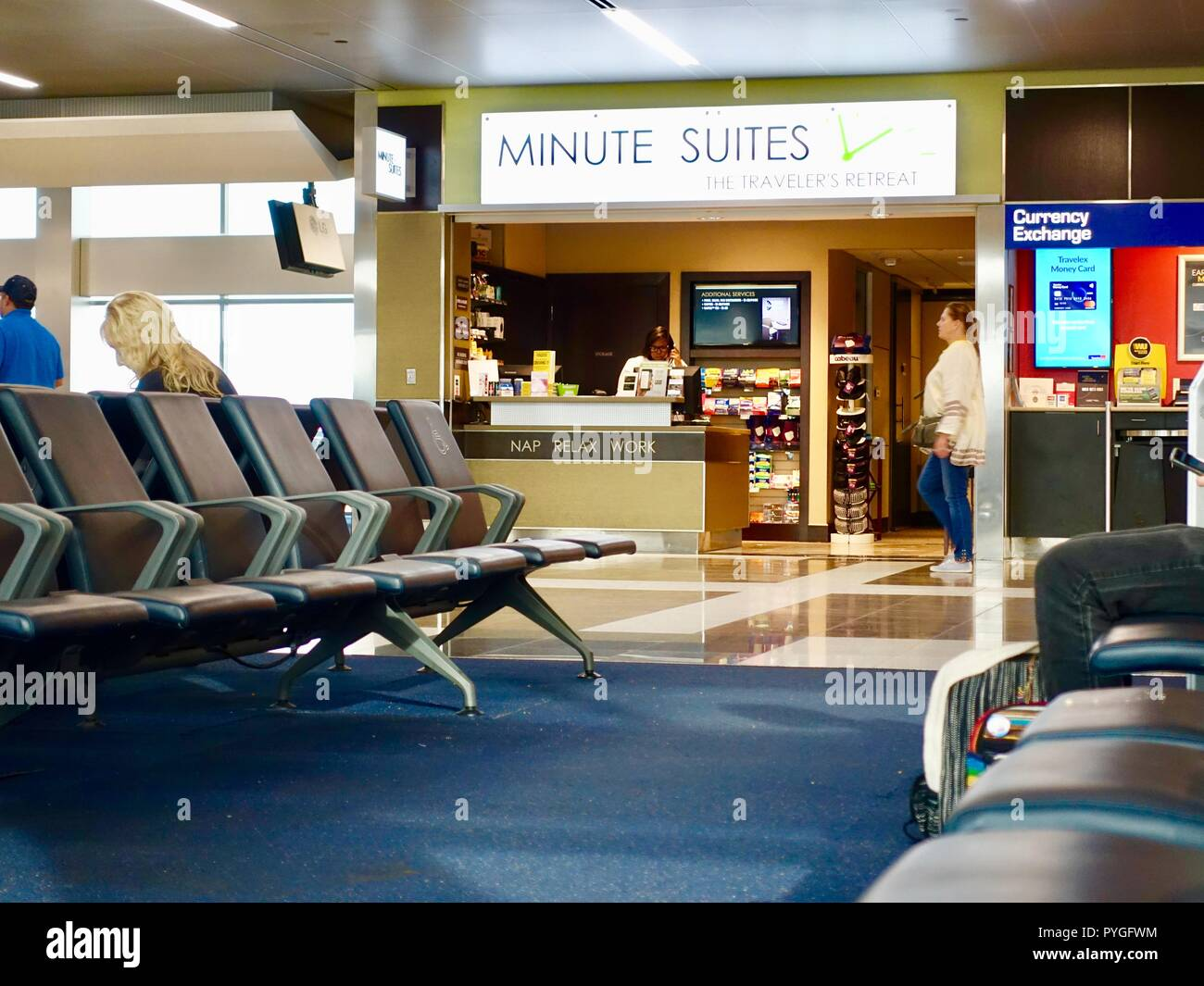 Minute Suites traveler's retreat, Atlanta Hartsfield International Airport, a place to nap, relax, and work in between flights, Atlanta, Georgia, USA - Stock Image